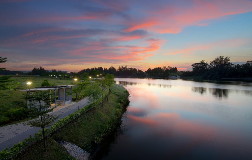 Punggol Park Connector at sunset. Over 80% of the North Eastern Riverine Loop runs along scenic waterways.