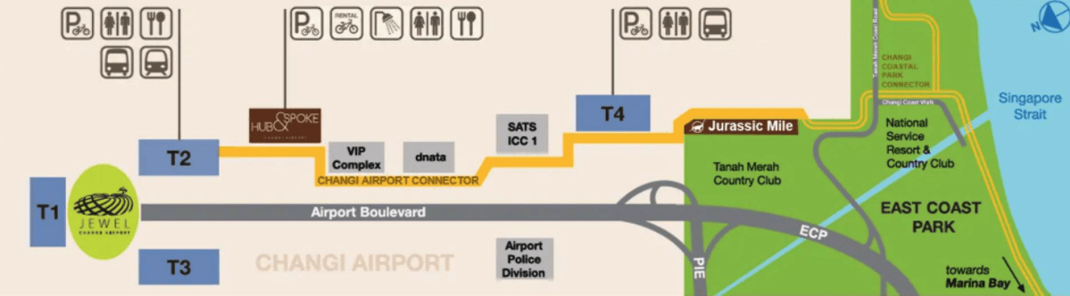 Route from T2 to T4 and Jurassic Mile Singapore
