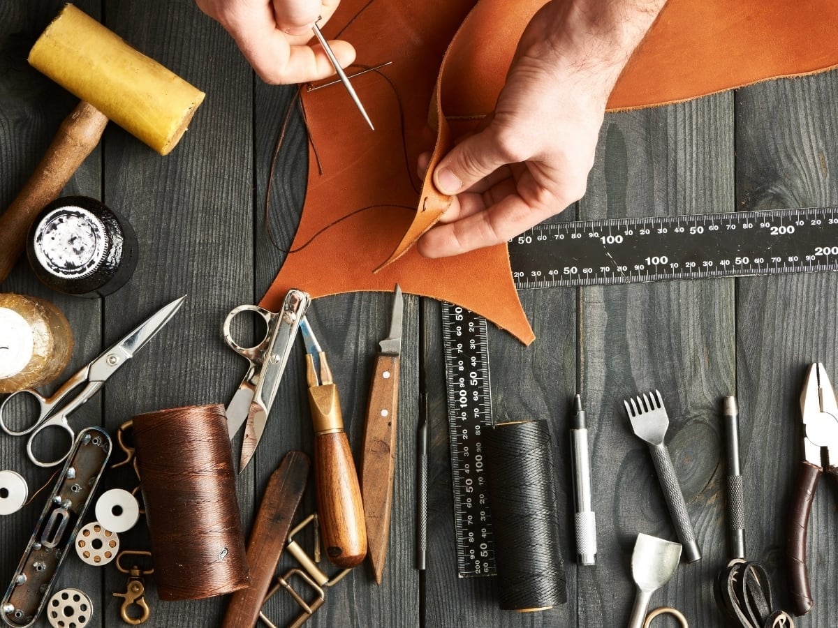 Use your hands to create like a leather workshop