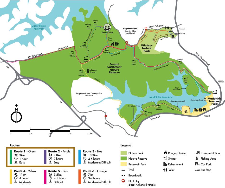 MacRitchie Reservoir boardwalk trails map