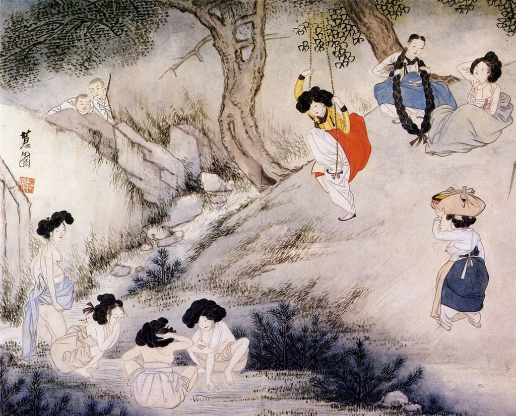 A scene depicting Dano day from Hyewon pungsokdo at the Gansong Art Museum in Seoul