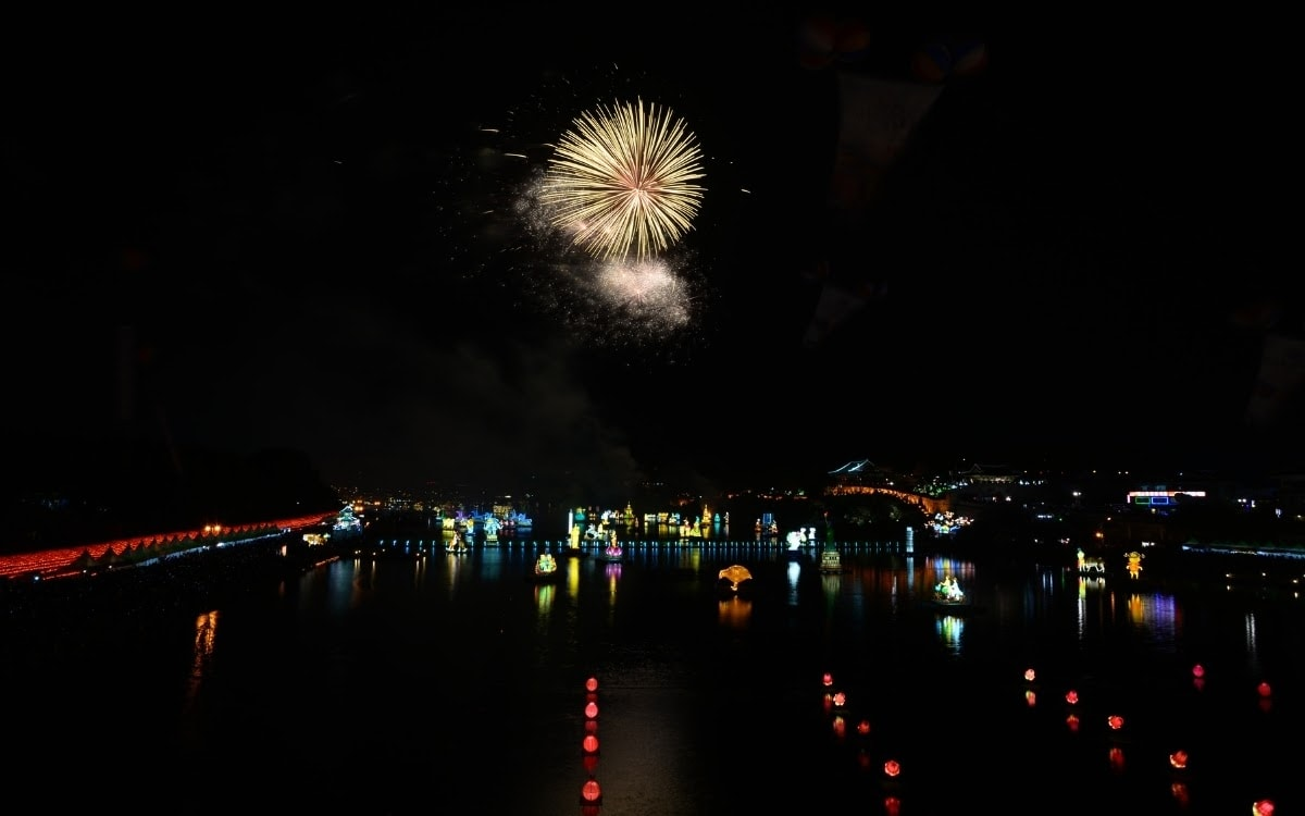 Fireworks display with lantern on the water in Jinju, one of the best lantern South Korean festivals