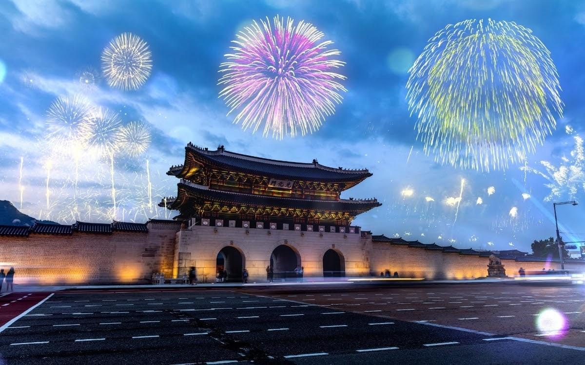 Fireworks display behind Gyeongbokgung