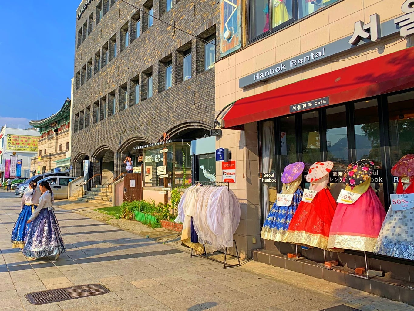 Rent a Hanbok (traditional Korean clothing) just outside Gyeongbokgung