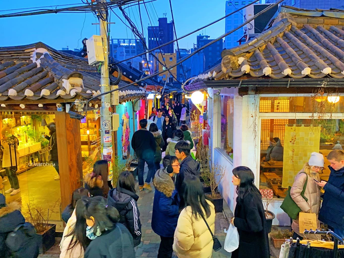 Ikseondong is filled with back alley restaurants in Hanok