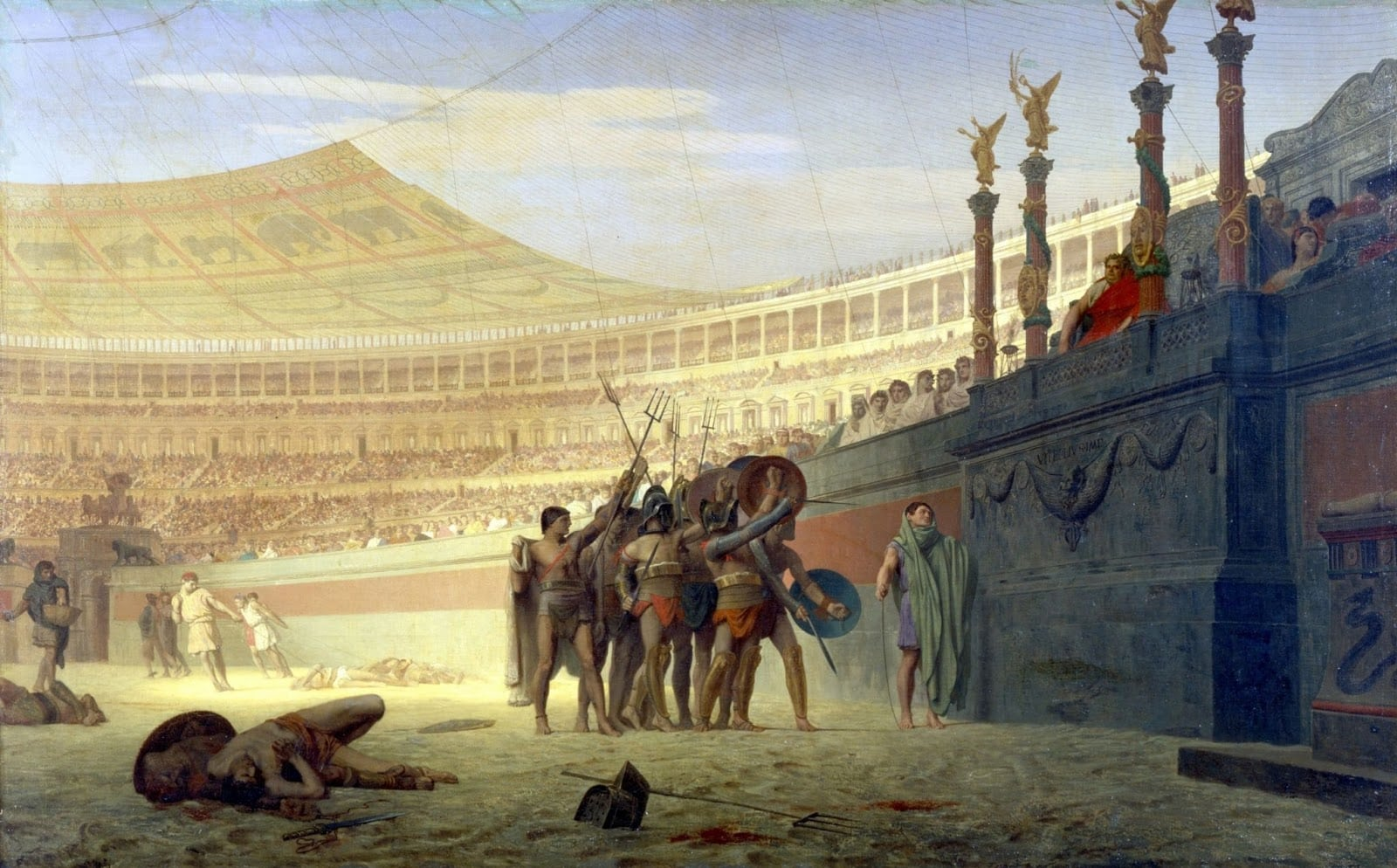 Roman Gladiators saluting Caesar