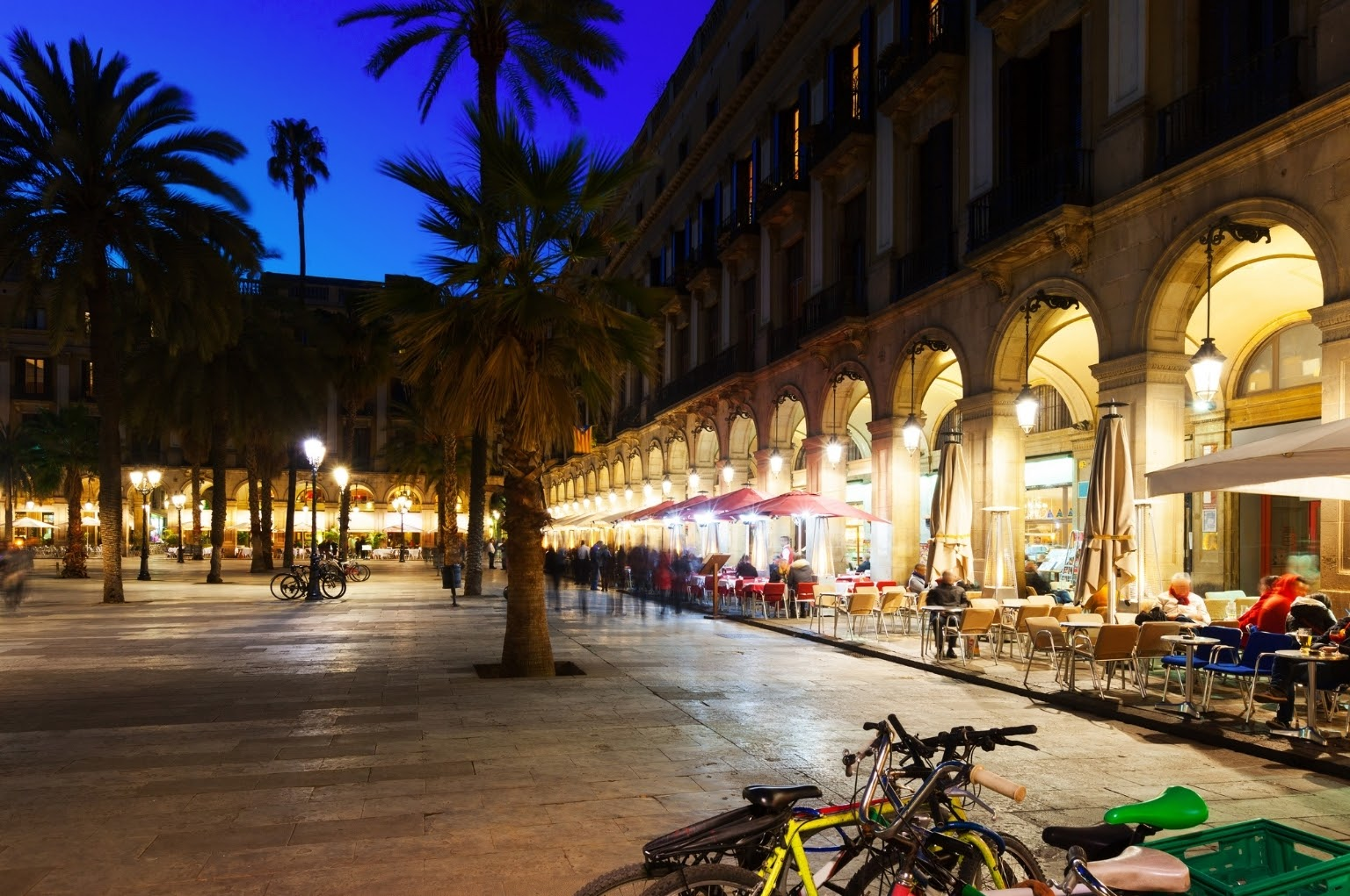 Bikes parked at Placa Reial