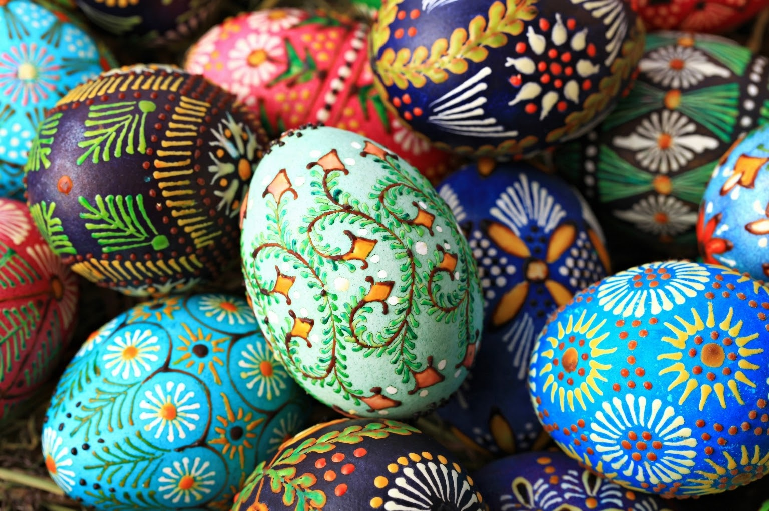 Traditional Lithuanian easter eggs painted with beeswax