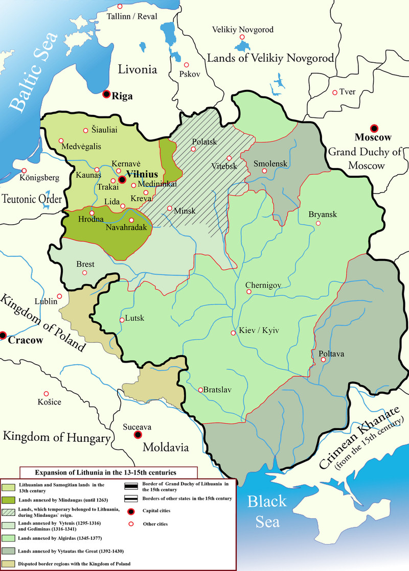 Map of the Grand Duchy of Lithuania. Image by M.K. (CC BY-SA 2.5)